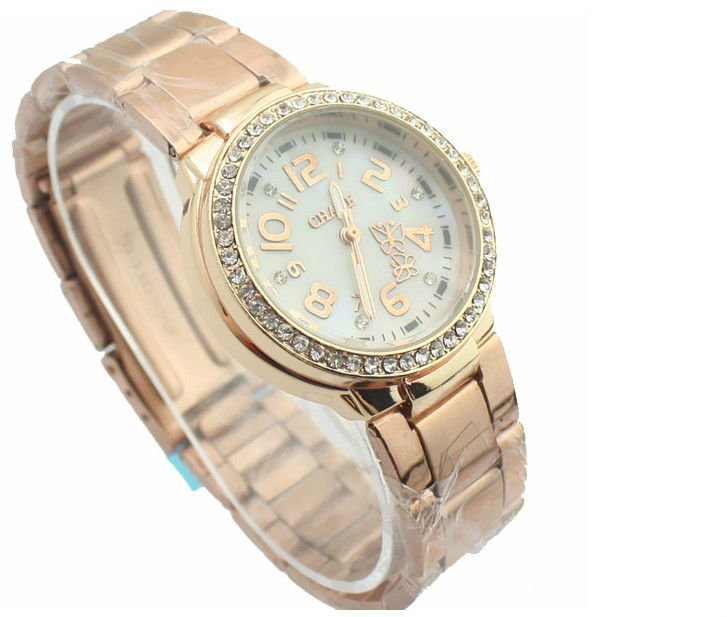 001244 Wholesale TOP quality stylish Quartz stainless steel watch gold and white ladies wristwatch Freeshipping