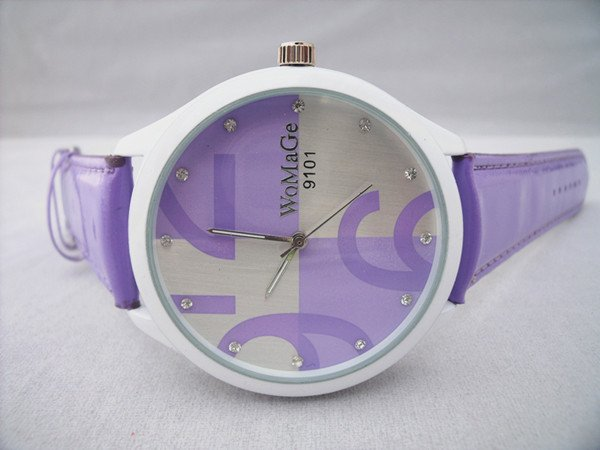 1 Pcs WoMaGe 9101 Women s Stainless Steel Dial Leather Band Fashion Watch 6 kinds of