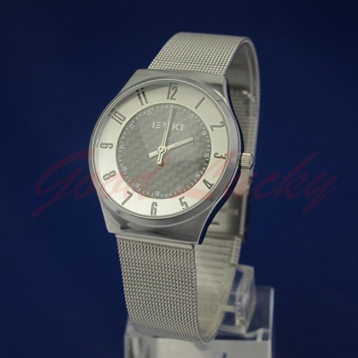 Leather 22.1 cm Round watch Glass Quartz W8503AL-BL