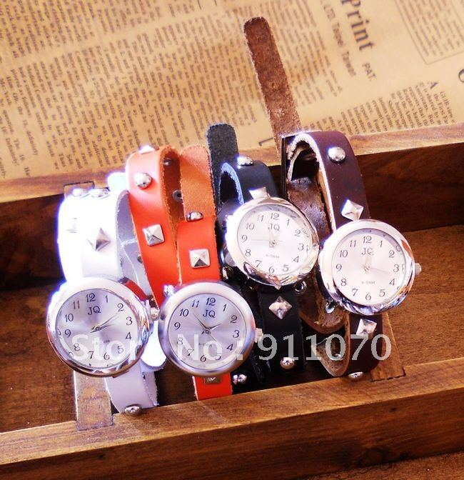 Leather 40 cm Round watch Glass Quartz