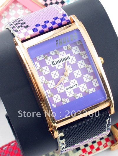 Leather 9.3 inch Rectangle watch Glass Quartz