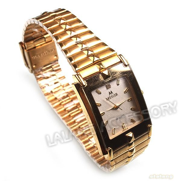 1pc lot Rectangle Golden Alloy Rhinestone Quartz Ladies Business watch Water Resistant Lady Business Watch 220mm
