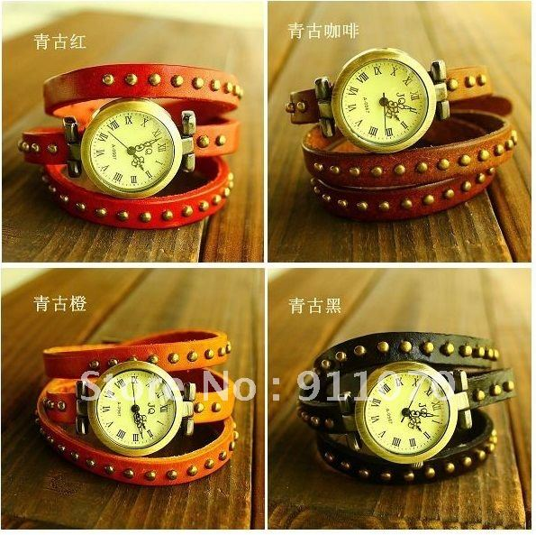 1pcs 2012 New style Wholesale Cow Leather fashion Summer hot sell Personality bracelet watch TOP quality