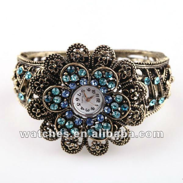 2012 Ladies Fashion 6 colorful Flower Style Retro colored stones bronze Wrist Watch Bracelet