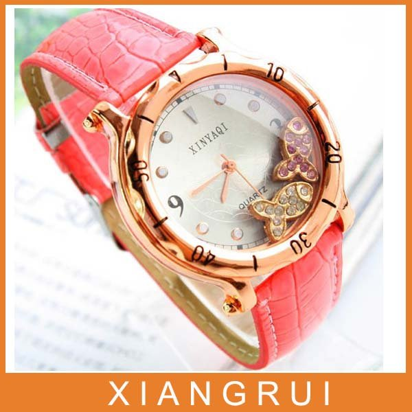2012 hot selling popular leather nice ladies student watch factory sale B034