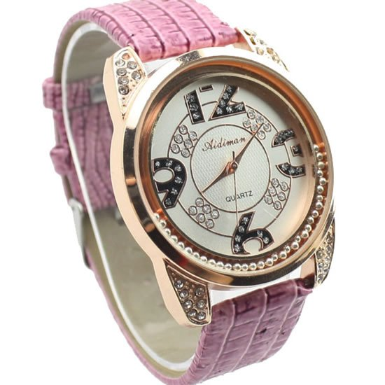 2012 new arrivel fashion lucky coming diamonds ladies quartz analog leather watches hot gift wholesale