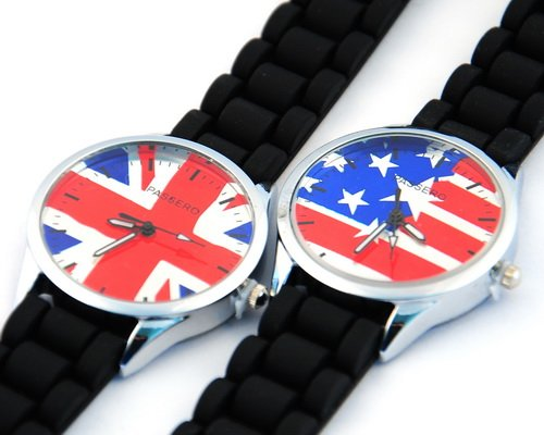 2012 newest model USA flag UK flag watch 5ps lot