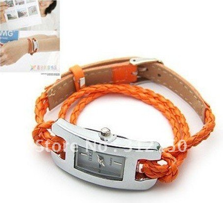 24pcs lot Fashion Colorful rope watch hand knitted leather women s jelly wrist watches