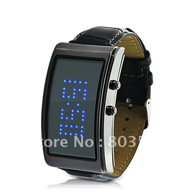 55pcs lot EMS DHL Hot Selling Blue Romance LED Watch for Ladies with Scrolling