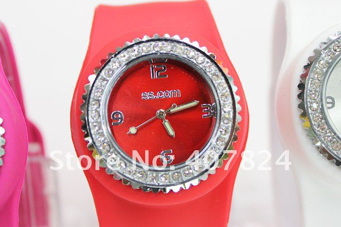 55pcs lot silicone slap watches with round face and rhinestones diamond watch have 11colors with free