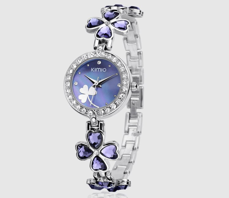 6 colors Beauty KIMIO Purple Clover Lady Full Crystal Analog Watch RQ2226