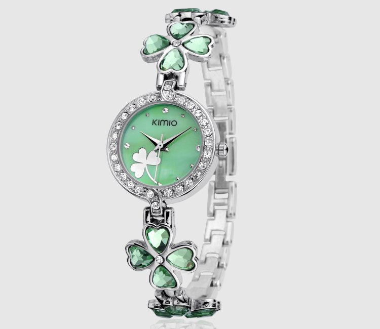 6 colors wholesale Korean KIMIO Green Clover Lady Full Crystal Analog Watch K9760