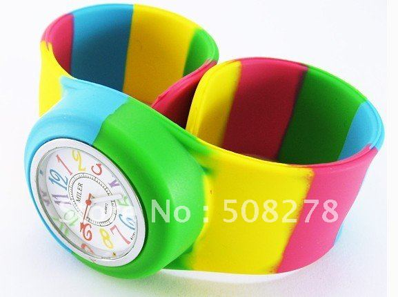 7 colored silicone watch 2012 Rainbow jelly watch for gift cartoon watch for children