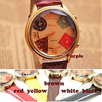 Big dial fashion watch Multi Edge Angle glass surface many colors bands can be chosen