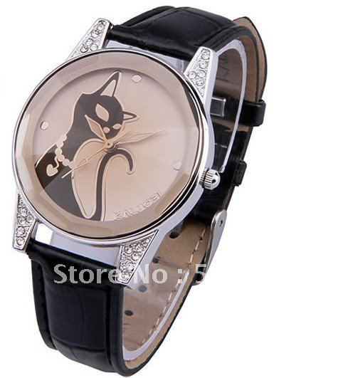 Black cat lady s fashion watch wrist quartz watch Crystal glass surface with good sheen soft