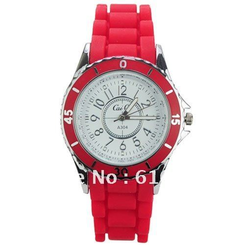 Chic Simply Silicone Women unisex Wrist Watch Wholesale Red