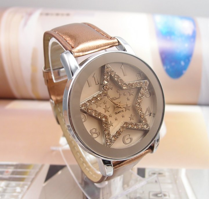 Drop Shipping Wholesale Good Quality Lady s Star Crystal Brown Leather Band Quartz Watch CTY029