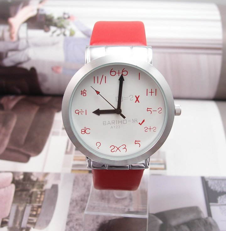 Drop Shipping Wholesale Special Round Red Leather Band Quartz Watch CTY033