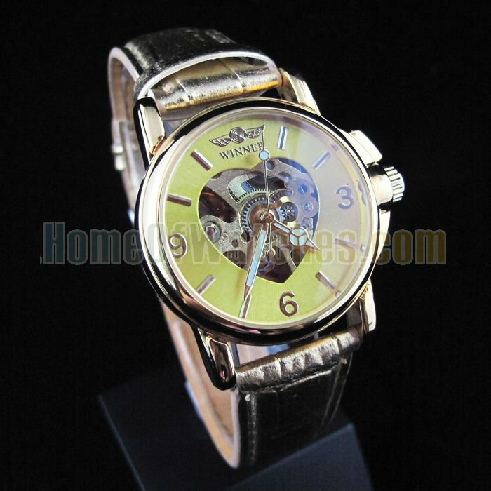 Stainless Steel   watch Glass Mechanical Hand Wind