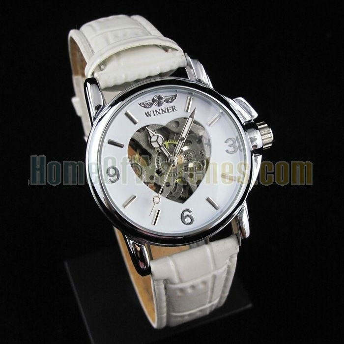 Elegant Gold Plated Stainless Steel Transparent Dial White PU Strap Automatic Wirst Watch NBW0HE6356WH