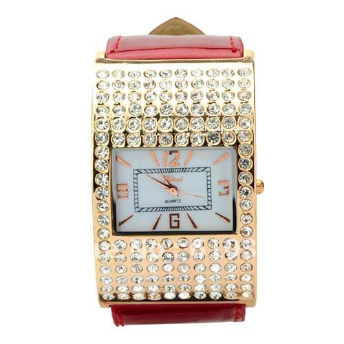 Elegant Graceful Rhinestone Square Dial PU Leather MOST POPULAR NEW FAB LUXURY ZIRCON EXQUISITE WOMAN BANGLE