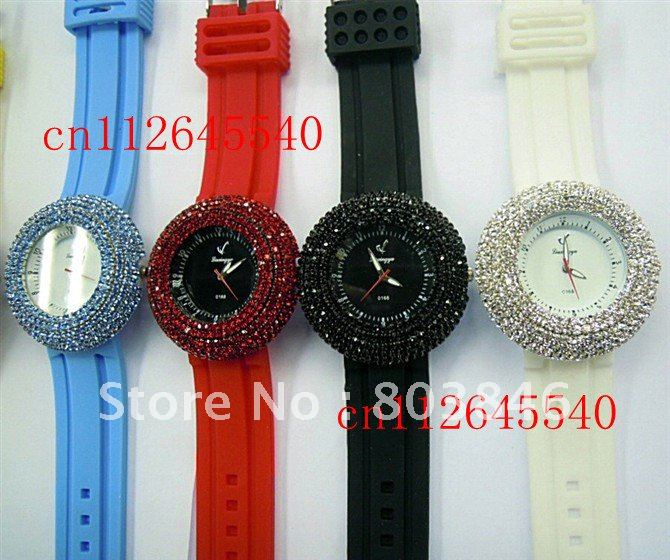 Fashion Silicon Ladies watch with crystal around the dial 10 colors 20pcs lot