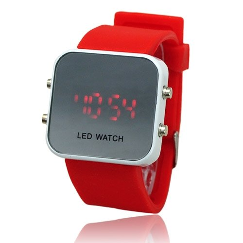 Fashion Unisex youth Candy Color Soft Silicone Wristband Digital Mirror LED Watch 50178 fast