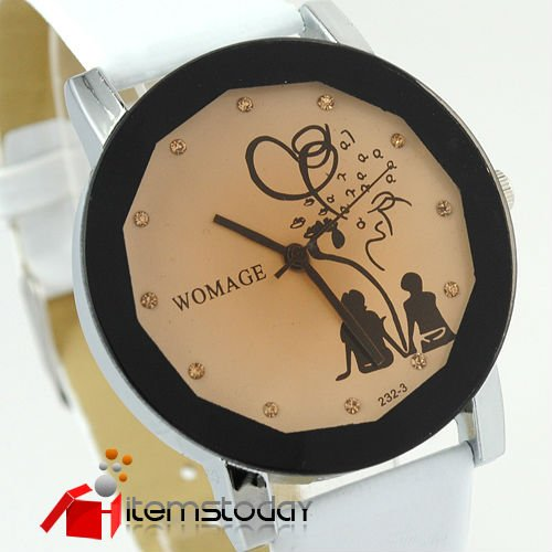 Rubber 24 cm Round watch  Japan movement ladies bling watch