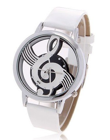 Fashionable Bolun Dots Hour Marks Leather Quartz Wrist Watch with Music Symbol Patterned for Female w