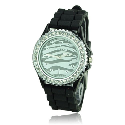 Fashionable Shiny Silicone Watchband Striped Pattern Quartz Movement Wrist Watch with Rhinestone set Dial Woman Watch