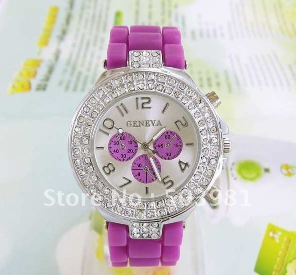 Beauty Women s Purple Band Crystal Silicone Quartz Watch VP001