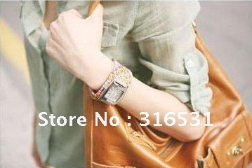 Factory Price Korean Style Hand Knitted Leather Ladies Bangle Watch