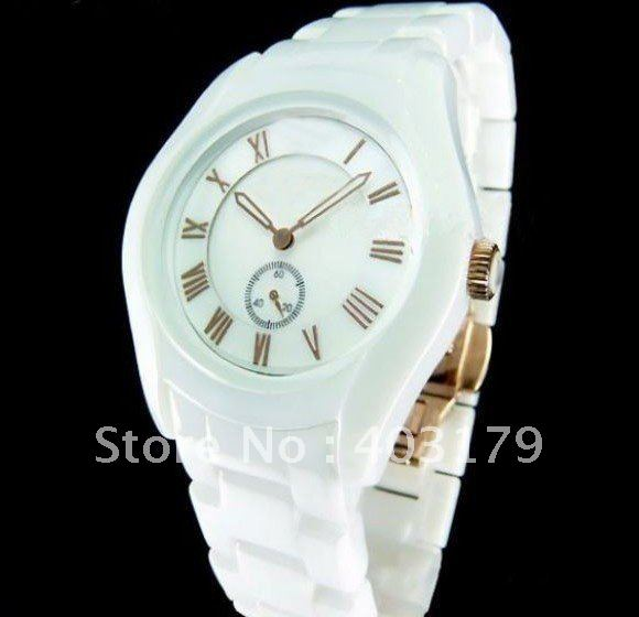 Ladies AR1418 White Ceremica Watch White Bracelet and Rose Gold watch with Original Box
