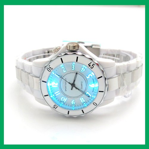 Ohsen Fashion Wrist Watch 7 Colour Light Analog Quartz Unique Gift White FG0736 2