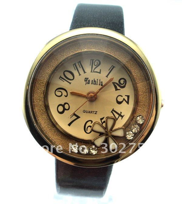 Wholesale newest hot selling women s crystal black leather quartz watch