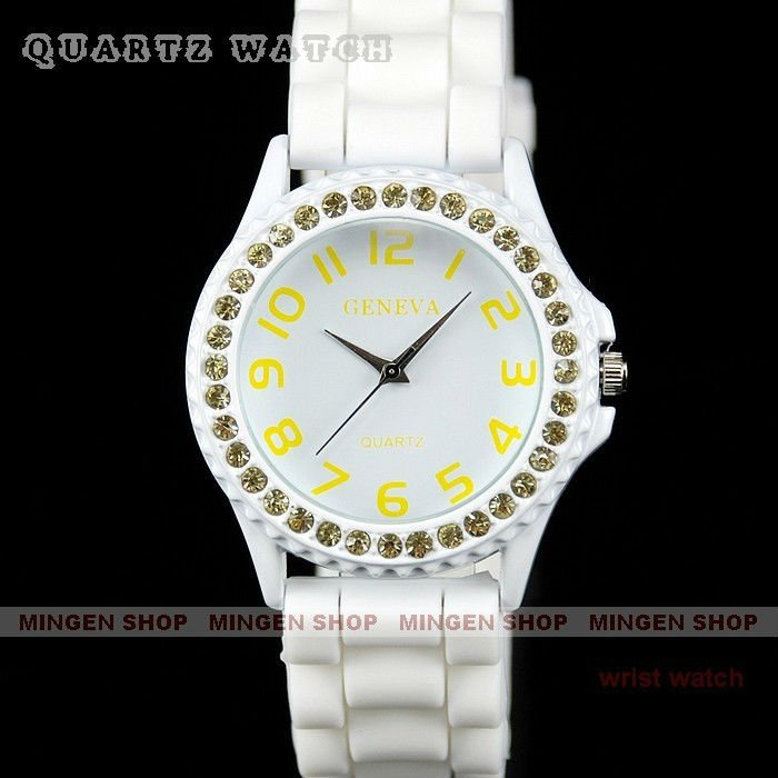 Fashion rich yellow Crystal Bezel White Silicone Jelly Lady Girl Quartz wrist Leisure watch