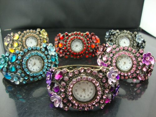 Min order is 15 MIx order New arrival cahriming colored Acrlyl Crystal WristWatch Bracelet