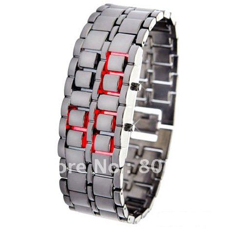 W00024 LED Red Light Electronic Wrist Watch for Women Black