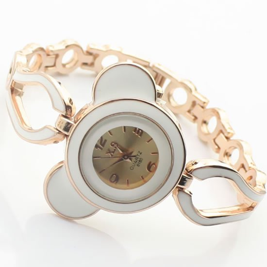 new gold color lovely mouse steel Bracelet Wrist Watch ladies Luxury Wateproof dress watches