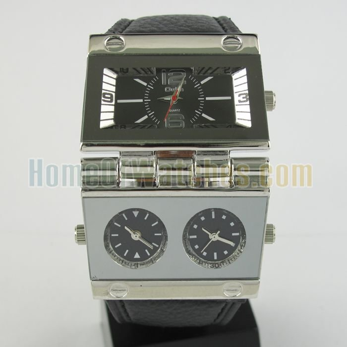 Hot Sale FashionSpecial Design 3 Dial Black Dial Stainless Steel Quartz Watch