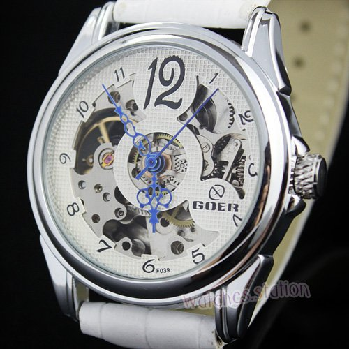 Hot Womens White Skeleton Automatic Grace Stainless Steel Wrist Watch Mechanical watch Gift Free Ship