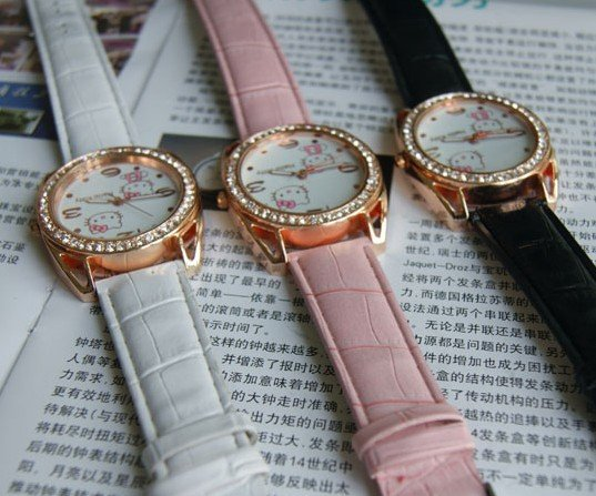Leather 24 cm Round watch Glass Quartz