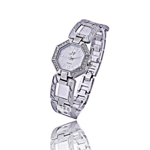 Lastest Fashion Classic Formal Stainless Steel Diamond Shape Silver Rhinestone Ladies Watch