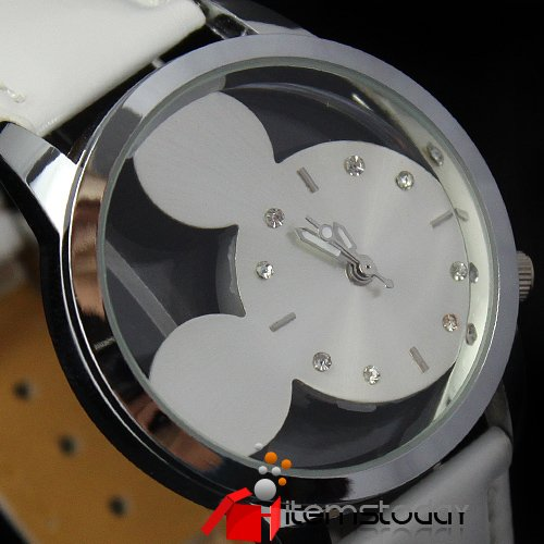 Lovely Mickey Mouse Dial Ladies Quartz Watch White Nice iw1703