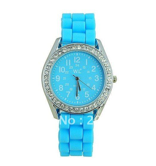Minimum order 10USD Mix order Fashion WL Rhinestone Round Dial Strips Silicone Quartz Band Wrist Watch
