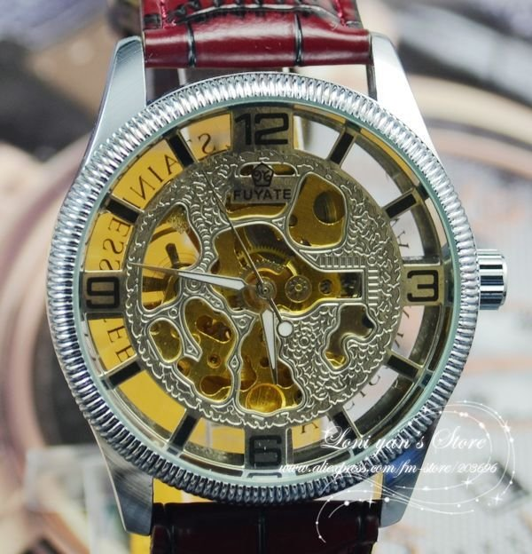 New Arrivals Auto Watch Transparent Skeleton Design Mechanical watch Wrist watch Gift Free Ship