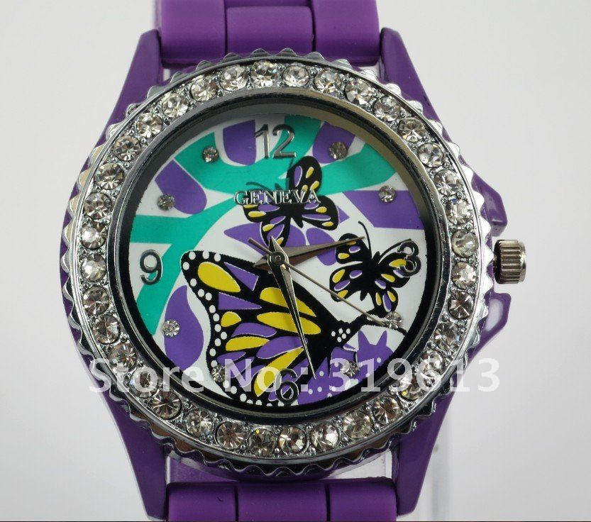New Violet Butterfly Face Crystal Silicone Jelly Lady women Girl Dress Wrist sport Watch