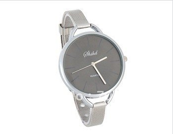 Round Dial Alloy Case Slim Steel Band Women s Wrist Watch Black