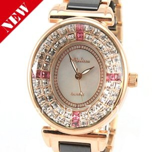 Wholesale New Oval Case Luxury Swarovski Crystal Wrist Watch 2012 New Ladies Watch 3 Colors Freeshipping