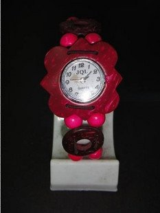 Wholesales Red Flower Fashion vintage natural style Coconut shell wristwatch Factory Price
